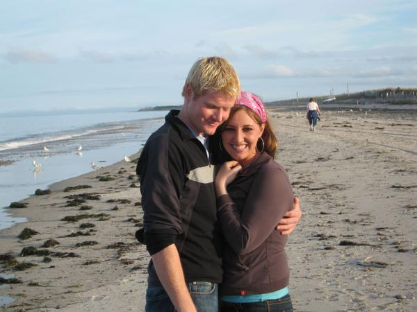 Drew Hunter and Jenna Seoane on the beach in Duxbury